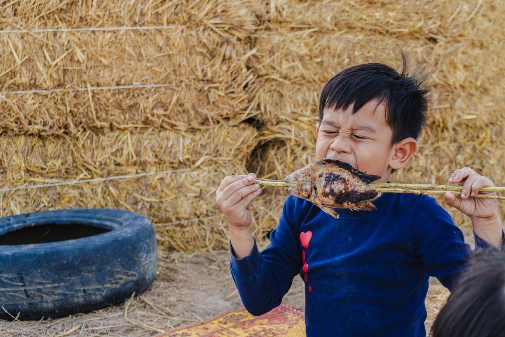 anak makan ikan