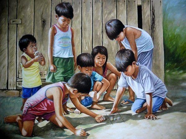anak-anak bermain permainan tradisional zaman dulu